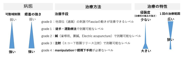 図:癒着のGrade 分類と治療方法の特性(Fasciaリリースの基本と臨床(文光堂)より)